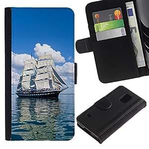 NEECELL GIFT forCITY // Billetera de cuero Caso Cubierta de protección Carcasa / Leather Wallet Case for Samsung Galaxy S5 V SM-G900 // Vintage Skoonar Velero