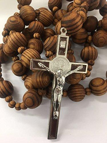 Giant Big Beads Rosario Natural Wood Jesus Metal Cross Xl Large 40