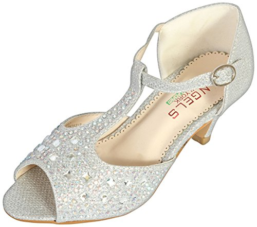 Angels New York Girls Glitter & Stone Sandal with Memory Foam Insole, Silver, 5 M US Big Kid