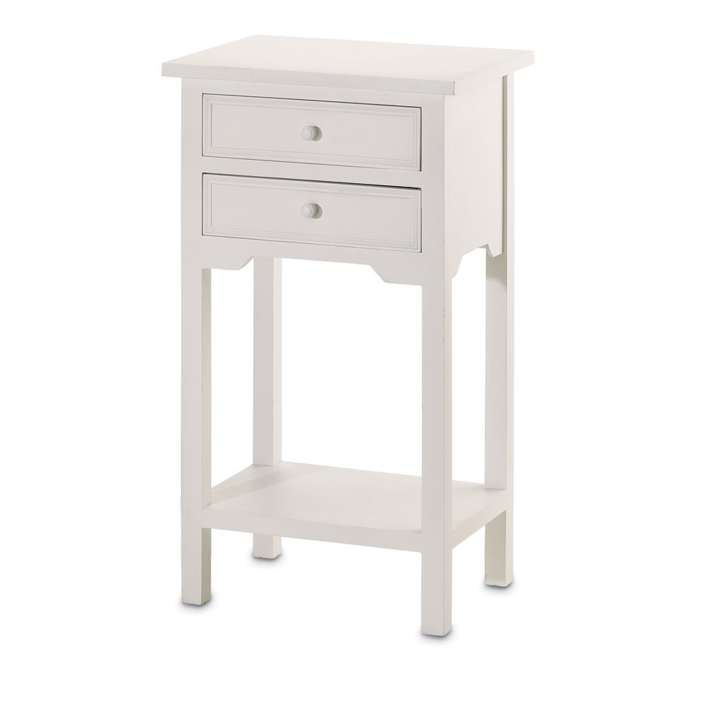 Amazon.com: VERDUGO GIFT End Table With 2 Drawers, White: Kitchen U0026 Dining