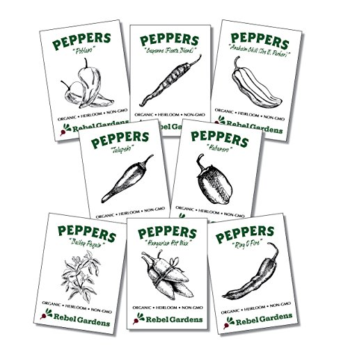 Hot Pepper Seeds - Organic Heirloom Chili Seed Variety Pack - Cayenne, Jalapeno, Habanero, Poblano, and More by Rebel Gardens