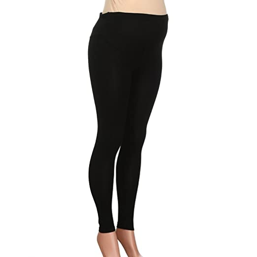 ad6be194c25c42 Womens Casual Maternity Leggings Workout Pregnancy Pants Leggings Tights  Nursing Clothing (Black,