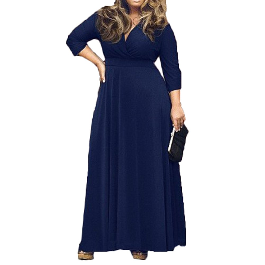 e64a46e01e9 Bodycon4U Women's Plus Size Deep V Neck 3/4 Sleeve Solid Color Long Maxi  Dress at Amazon Women's Clothing store:
