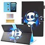 Coopts Folio Case for All-New Amazon Fire HD 10 Tablet (7th Generation, 2017 Release) - Premium PU Leather Slim Fit Smart Stand Cover with Auto Wake/Sleep for Fire HD 10.1'' Tablet, Music Panda