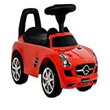 Push Peddle Car, Mercedes Benz Red Push Car for Boys and Girls, Baby Infant Push Along Car & E-Book