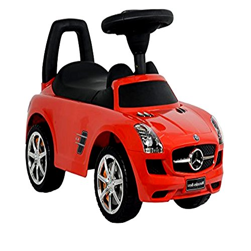 Push Peddle Car, Mercedes Benz Red Push Car for Boys and Girls, Baby Infant Push Along Car & E-Book by center