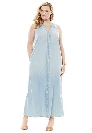 e2ed76cd151 Roamans Women s Plus Size Button Front Denim Dress at Amazon Women s ...