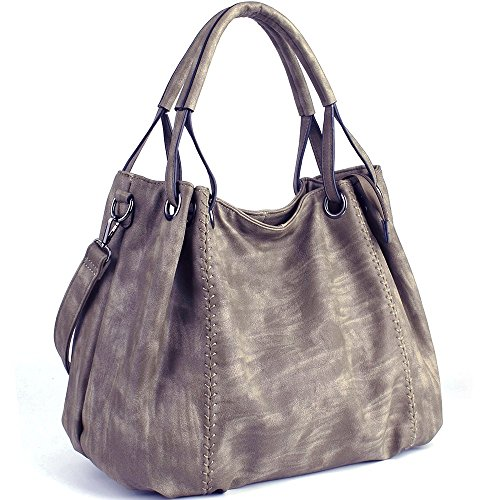 Women Shoulder Bags Light 30cm PU JOYSON Hobo L Coffee 40cm PU 19cm Leather Large Crossbody Ladies Bags H Handbags Leather W Capacity Handbags dq110gE