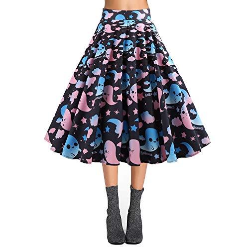KCatsy Hepburn Vintage Series Women Skirt Spring and Summer Halloween Ghost&Bat Printing Design Corset Retro Skirt -