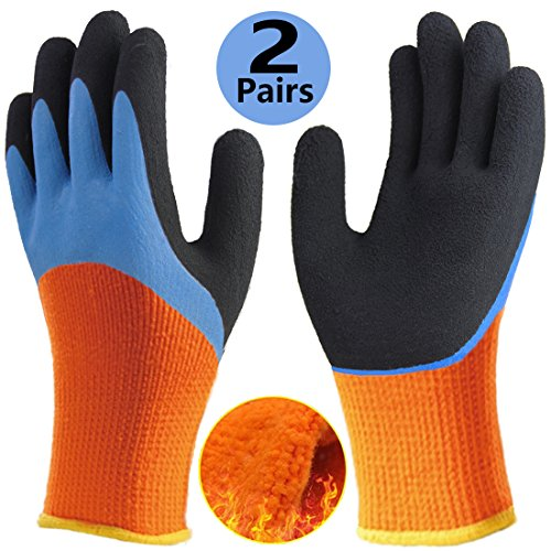 Cold Weather Insulated Mechanics Gloves (Cold Weather Work Gloves, Double Coating Thermal Fleece Winter Gloves, Water-Proof Non-Slip Long Cuff Warm Safety Gloves, Outdoor Garden Construction Heavy Duty Multipurpose Work.)