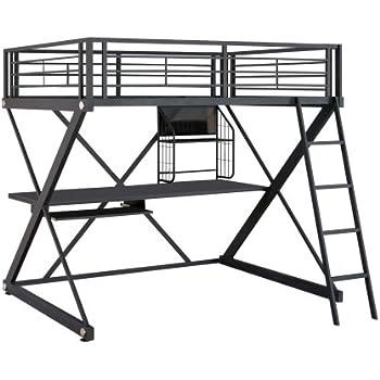 Amazon Com Dhp Studio Loft Bunk Bed Over Desk And