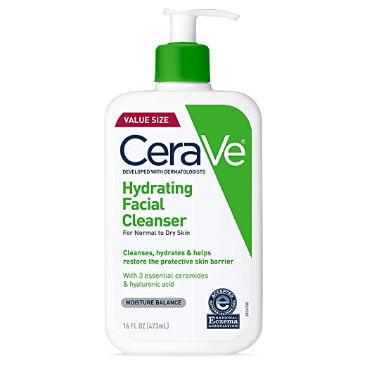 Amazon.com: CeraVe Hydrating Facial Cleanser | Moisturizing Non-Foaming Face Wash with Hyaluronic Acid, Ceramides & Glycerin | 16 Fluid Ounce