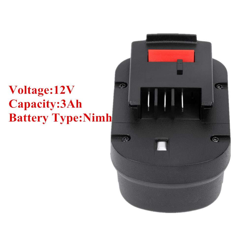 POWERAXIS 12V 3 0Ah HPB12 NI-MH Rechargeable Battery for Black & Decker 12v  Battery FS120B FSB12 HPB12 A12 A12-XJ A1712 A12EX FS120BX Black and Decker
