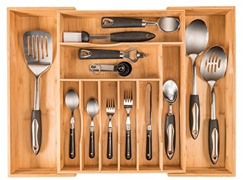 More Compartments, Organic Bamboo Utensil Organizer, Silverware Organizer & Cutlery Tray for Your Kitchen Drawer Organizer, Expandable Flatware Utensil Tray Has 10 Compartments & fits a 12 PC setting by Cuisinewares