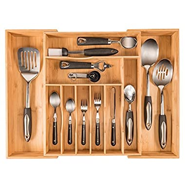 More Compartments, Organic Bamboo Utensil Organizer, Silverware Organizer & Cutlery Tray for Your Kitchen Drawer Organizer, Expandable Flatware Utensil Tray Has 10 Compartments & fits a 12 PC setting