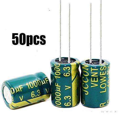 - 50pcs 6.3v 1000uf Capacitor 8x12 105c High Temp Radial Leads