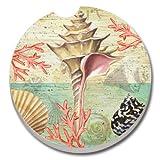 CounterArt Absorbent Stoneware Car Coaster, Serenity Seashells