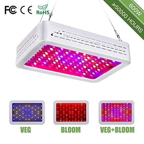 600W LED Grow Light, Dual Switch & Dual Chips Full Spectrum Plant Light for Hydroponic Indoor Plants Veg and Flower- (10W LEDs 60Pcs)