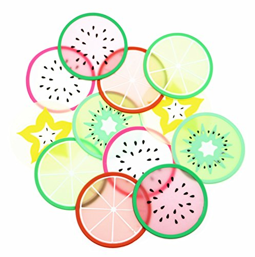Silicone Fruit Coasters Set Non Slip Cute Coasters for Drink Silicone Coasters Car Cup Holder Coaster Heat Insulation Drink Cup Mat Prevent Furniture and Tabletop12 Pack