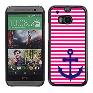 Graphic4You Anchor with Pink Stripes Pattern Design Hard Case Cover for HTC One (M8)