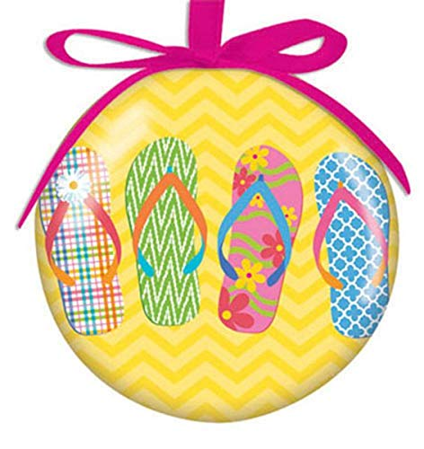 Cape Shore Flip Flop Parade High Gloss Resin Hanging Ball Ornament