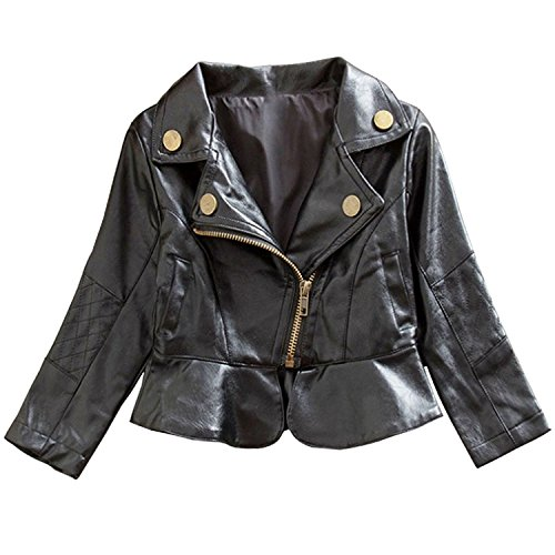 LUKYCILD Baby Girl's Motorcycle Jackets PU Leather Coat