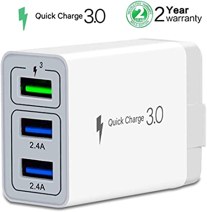Wall Charger Fast Adapter,[ QC 3.0 + 2 USB ] Fast Wall Charger 3 Ports Tablet iPad Phone Fast Charger Adapter Quick Charge 3.0 Travel Plug Compatible ...