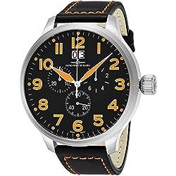 Zeno Men's 55MM Oversized Black Face Chronograph Date Mens Swiss Quartz Black Leather Watch 6221-8040-A15