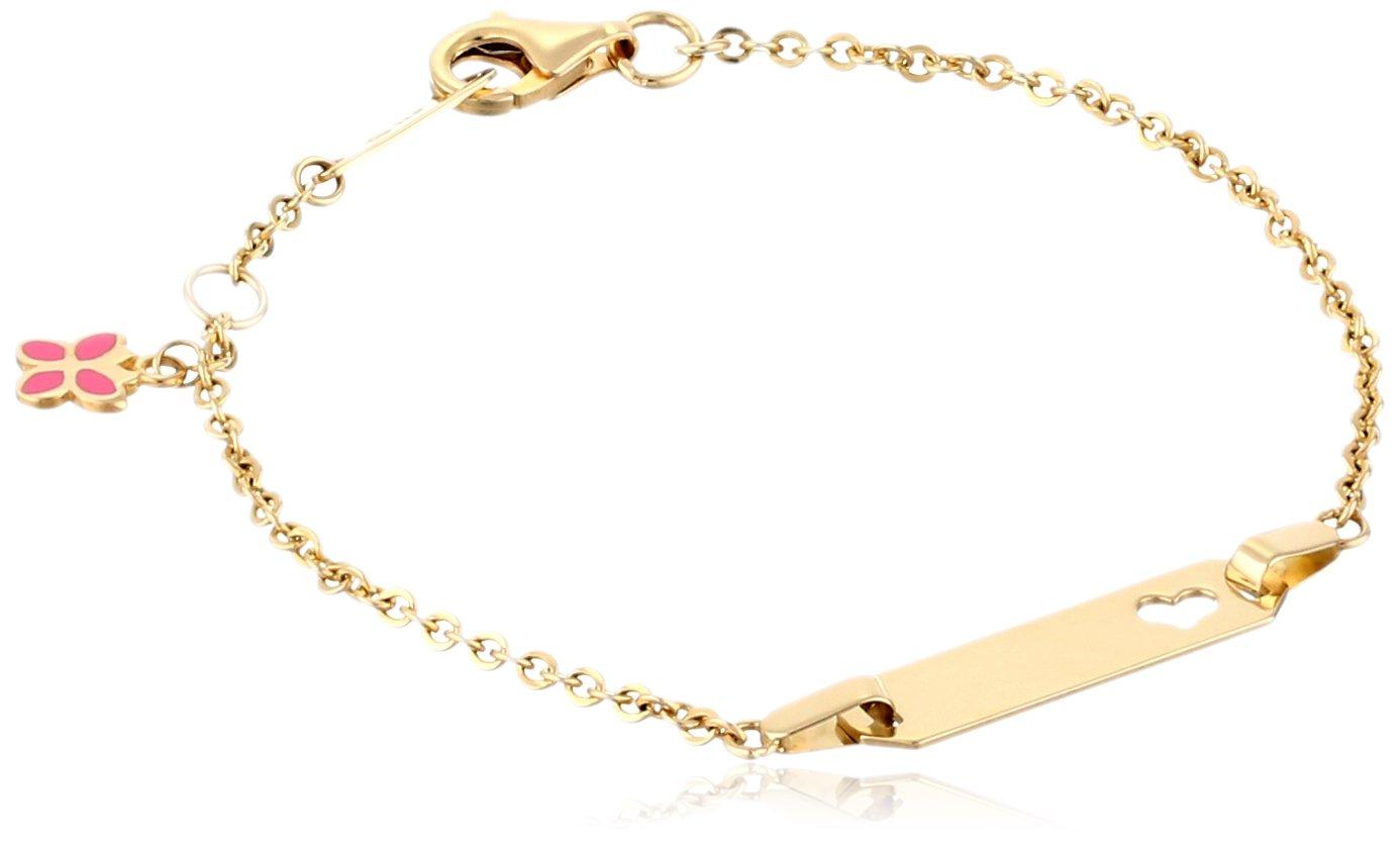 14k Yellow Gold Butterfly Charm Heart Baby ID Rolo Bracelet, 6''