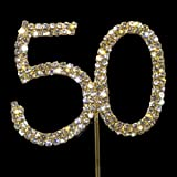 Sparkly Diamante Cake Topper Number Golden 50 by Brides Companion