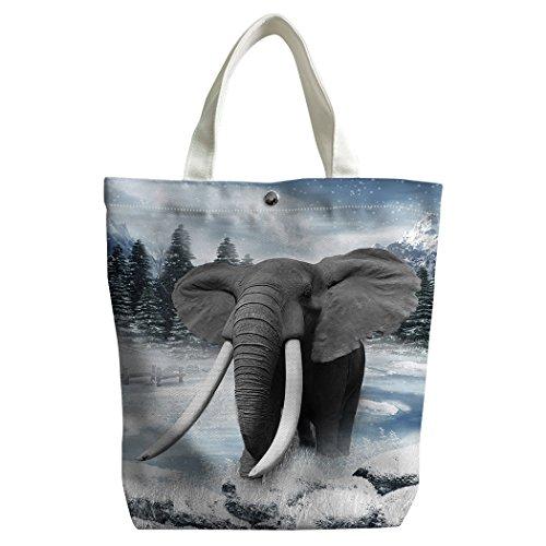 violetpos activas Canvas Pequeño bolso la compra bolsillos bolso escolar Elefantes Riesiges marfil