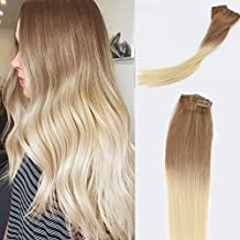 Vario Hair Clip In Hair Extensions Ombre Hair Color Golden Brown #12 Fading to Platinum Blonde #60 Silky Straight Skin Weft Human Remy Hair(18Inch 70g #12T60)