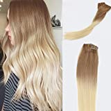Bleaching Hair Brown To Blonde - Vario Hair Clip In Hair Extensions Ombre Hair Color Golden Brown #12 Fading to Platinum Blonde #60 Silky Straight Skin Weft Human Remy Hair(18Inch 70g #12T60)