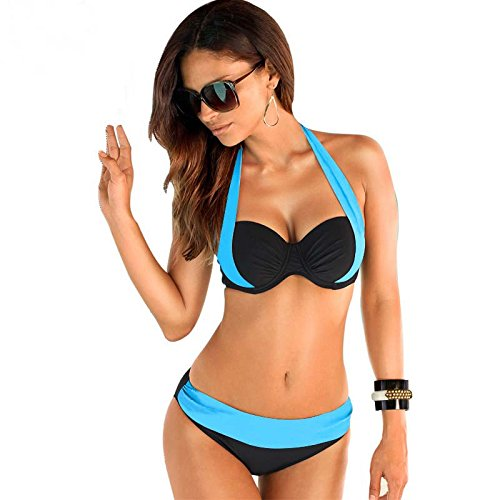 Walid-Sexy Bikinis Swimwear Women Swimsuit High Waisted Bathing Suit Swim Halter Top Bikini Set (size L - Bieber Swag Justin Outfits