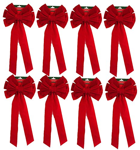"""Red Velvet Bow  26"""" Long 10"""" Wide 10 Loop Holiday/Christmas"""