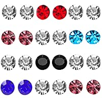 Gadgetsden Magnetic Non-Piercing Multicolor Stainless Steel Stud Earrings for Women (Set of 12 Pairs)