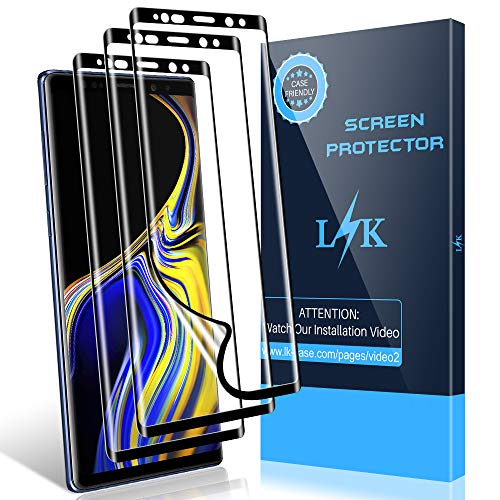 [3 Pack] LK Screen Protector for Samsung Galaxy Note 9, [Full Coverage] [Case Friendly] [Bubble Free] [Self Healing Skin] HD Clear Flexible Film with Lifetime Replacement Warranty