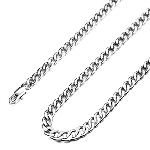 MOWOM Silver Tone 5.0mm Wide Stainless Steel Necklace Curb Chain Link 22 inch