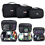 BUBM Electronic Organizer Travel Gadgets Bag For Memory Card USB Battery Power Bank Flash Hard Drive Cord Organizer (3pcs/set, Black, Single Layer)