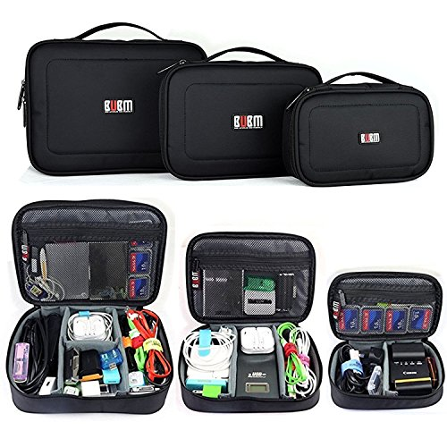 3 in 1 BUBM Travel Electronic Organizer Gadgets Electronics Accessories Storage Bag for Memory Card USB Battery Power Bank Flash Hard Drive Safe Space Cord Organizer