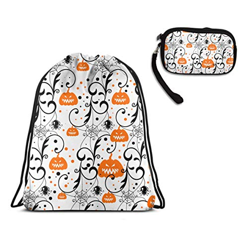 Men Women Halloween Pumpkin Drawstring Backpack Bag For