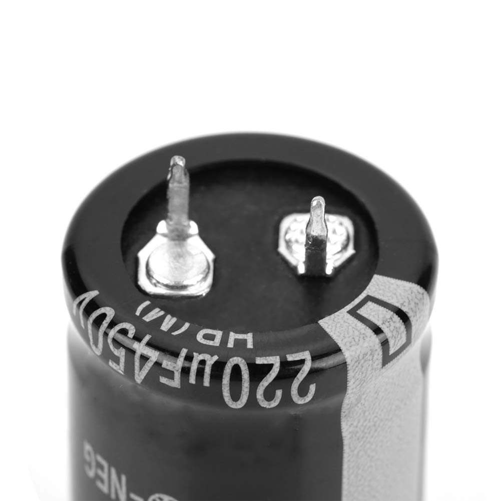 Black Acogedor 10Pcs Electrolytic Capacitors 450V 220uF,Electrolytic Capacitors Assortment Set,Electronic Component Kit,Lightweight,with Simple Structure,for Electronic Applications.