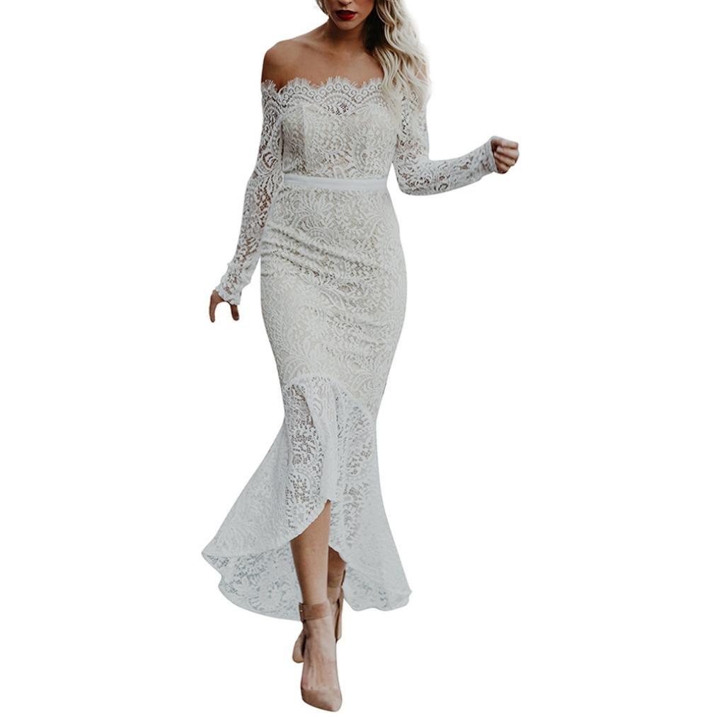 Kimloog Women's Long Sleeve Off Shoulder High Low Irregular See Through Lace Long Maxi (M, White)