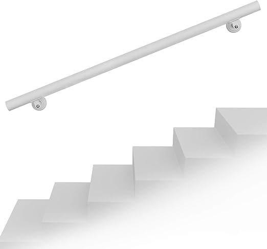 Set pasamanos barandilla montaje pared 80cm Blanco Acero Sujección Escalera Seguridad Decoración: Amazon.es: Jardín