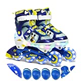 JZX Full Flash Three-Speed Variable Led Cycle Charging Skates,Blue,34-38