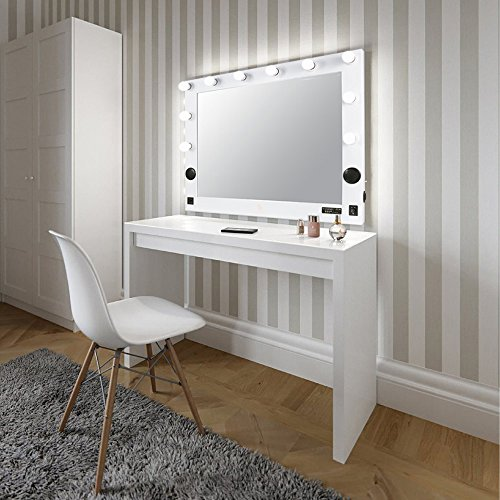 """Hollywood Lighted Makeup Vanity Mirror Light, Makeup Dressing Table Vanity Set Mirrors with Dimmer, 36""""x 30""""XL Large Makeup Mirror with 10 LED Lights"""