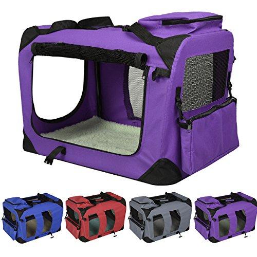Hundetransportbox faltbar Hundebox Transportbox Autobox Transporthütte Transporttasche Polyester (Lila, L)