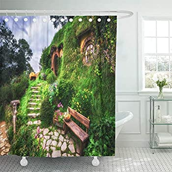Emvency Shower Curtain 72 x 72 inches Nature Home Bilbo Baggins and Garden in Hobbiton New Zealand Set with Hooks Decorative Waterproof Polyester Fabric Bathroom Shower Curtains