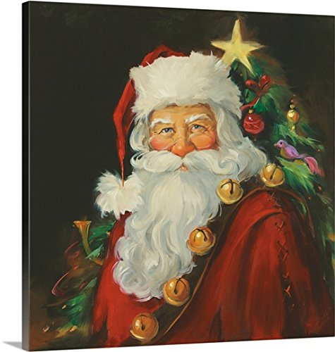 Canvas On Demand Susan Comish Premium Thick-Wrap Canvas Wall Art Print, 30'' x 30'', entitled 'Santa Portrait II' by CanvasOnDemand