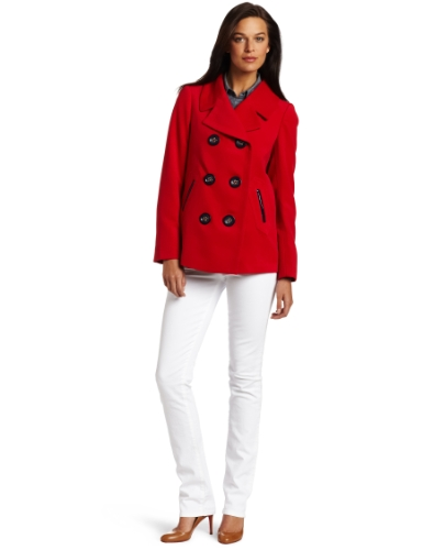 AK Anne Klein Women's Petite Solid Twill Coat